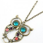 Vintage, Retro Colorful Crystal Owl Pendant and Chain with Antiqued Bronze/Brass Finish A special symbol, initial, or shape makes a memorable gift Get More Info/Buy Price $0.75